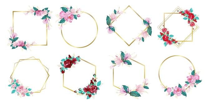 Zestaw akwarela kwiatowy ramki na wesele logo monogram i projektowanie logo marki
