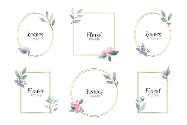 Zestaw akwarela kwiatowy ramki