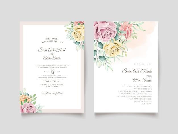 Zestaw akwarela kwiatowy ślub karty