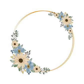 Zestaw akwarela kwiatowy w kolorze żółtym i niebieskim w złotej ramie koła