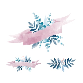 Zestaw akwarela liści z banerem wektor