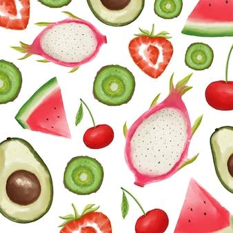 Zestaw akwarela malowane owoce. truskawka, arbuz, wiśnia, awokado, smoczy owoc, kiwi. ręcznie rysowane na białym tle.