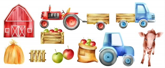 Zestaw akwarela pojazdów i budynków. krowa, traktor z przyczepą, jabłka w drewnianym pudełku, czerwone gospodarstwo i stóg siana