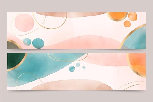 Zestaw akwarela ręcznie rysowane poziome banery