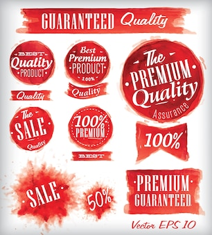 Zestaw akwarela starych znaczków jakości premium czerwony