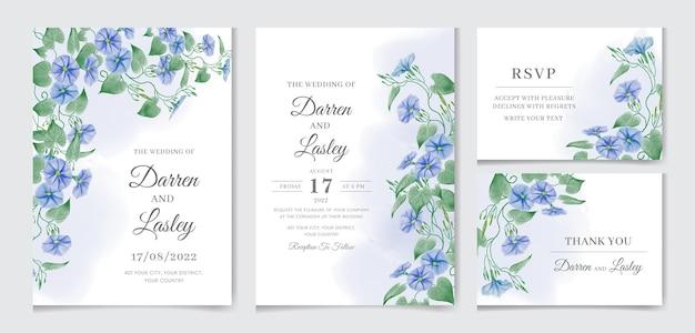 Zestaw akwarela szablon karty zaproszenie na ślub z kwiatami i liśćmi