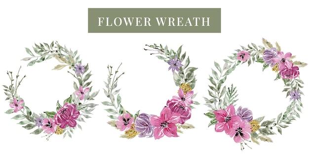Zestaw akwarela wieniec różowy kwiat