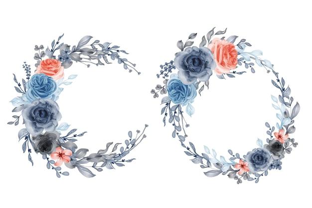 Zestaw akwarela wieniec z kwiatów róża pomarańczowy niebieski i liście