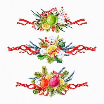 Zestaw akwarela wstążki świąteczne