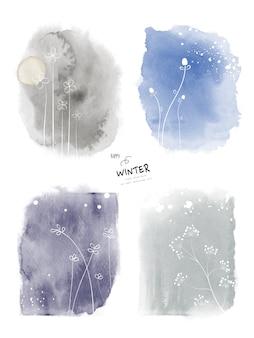 Zestaw akwarela zima sztuki i ręcznie malowane tła doodle