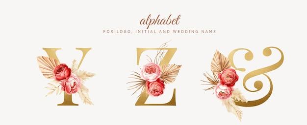 Zestaw akwareli boho kwiatowy alfabet ze złotą literą