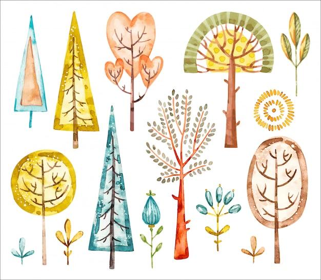 Zestaw akwareli drzewa. ładny zestaw akwarela baby przedszkole kreskówka dla dzieci