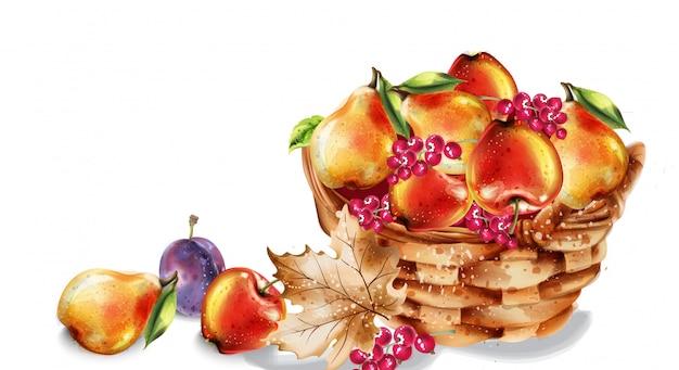 Zestaw akwareli jabłka, gruszki i brzoskwini. kolorowe owoce szczegółowo malowane w stylu