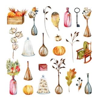 Zestaw akwareli jesiennych elementów i przedmiotów, liści, kwiatów bawełny, jesiennych bukietów, jesiennych jagód, dyni, butelek i wygodnego fotela