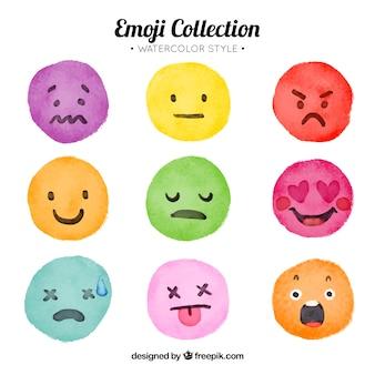 Zestaw akwareli kolorowych emotikonów