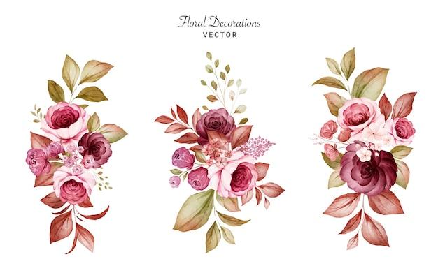 Zestaw akwareli kompozycji kwiatowych bordowych i brzoskwiniowych róż i liści. zestaw dekoracji botanicznych
