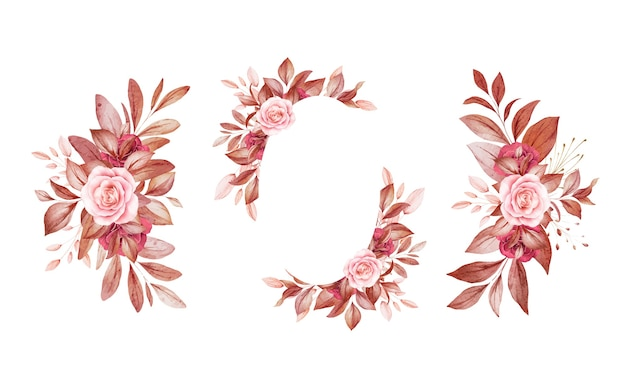 Zestaw akwareli kompozycji kwiatowych brązowych i bordowych i brązowych róż i liści.