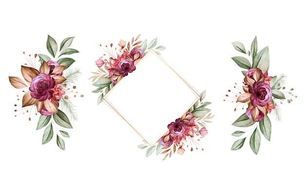 Zestaw akwareli kompozycji kwiatowych brązowych i bordowych róż i liści.