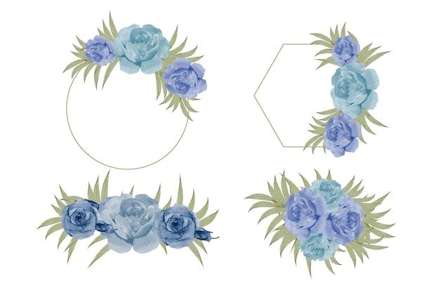 Zestaw akwareli kwiatowej ramki na monogram ślubny i projektowanie logo marki