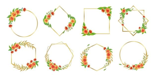Zestaw akwareli kwiatowych ramek do logo ślubu monogram