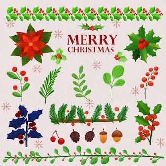 Zestaw akwareli malowanych świątecznych roślin zimowych kwiatów i liści clipart