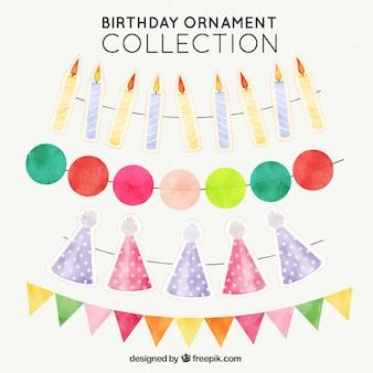 Zestaw akwareli ozdoby urodzinowe