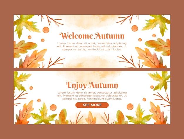 Zestaw akwareli poziomych jesiennych banerów