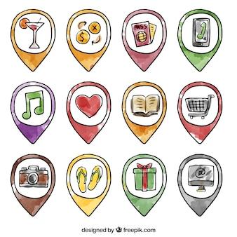Zestaw akwareli ręcznie rysowane wskaźników z ikonami