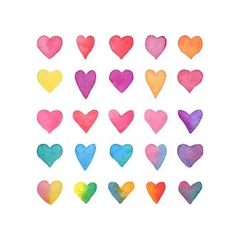 Zestaw akwareli serca. kolekcja ręcznie rysowane serca na białym tle