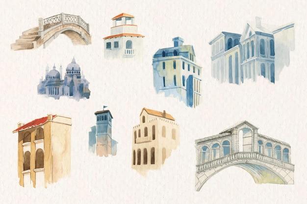 Zestaw akwareli w stylu vintage europejskiej architektury