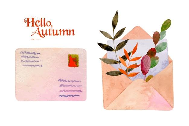 Zestaw akwareli z kopertami i jesiennymi jasnymi liśćmi