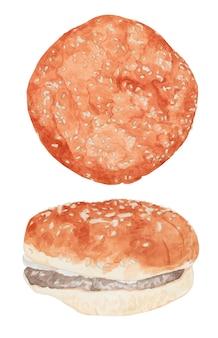 Zestaw akwarelowy burger z sezamem