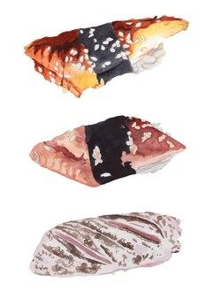 Zestaw akwarelowy sushi z węgorzem i tuńczykiem