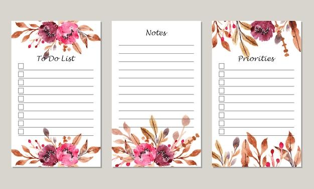 Zestaw akwarelowych bordowych kwiatowych notatek szablon listy zadań