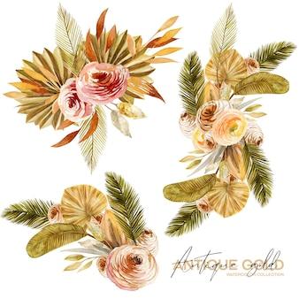 Zestaw akwarelowych bukietów kwiatowych ze złotych i zielonych suszonych liści palmowych wachlarza, trawy pampasowej i egzotycznych roślin