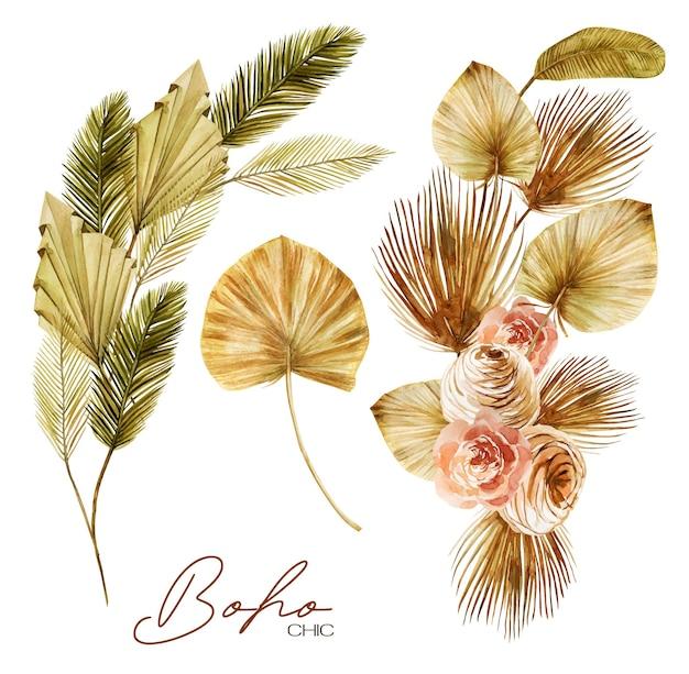 Zestaw akwarelowych bukietów kwiatowych ze złotych i zielonych suszonych liści palmowych wachlarza