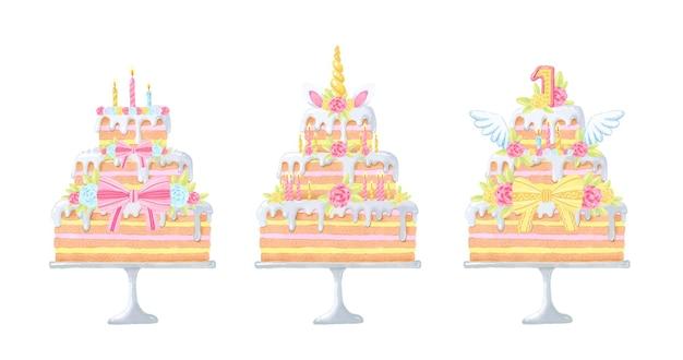 Zestaw akwarelowych ciast na urodziny dziecka.