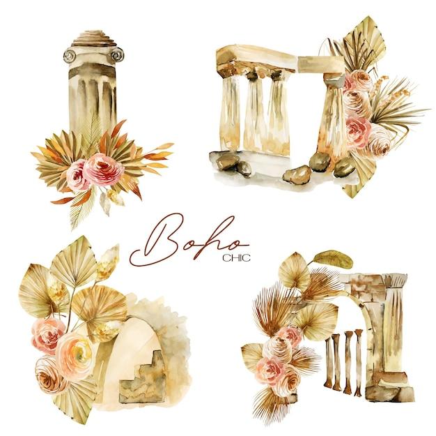 Zestaw akwarelowych kompozycji antycznych elementów architektonicznych i kwiatowych bukietów boho na białym tle ilustracji