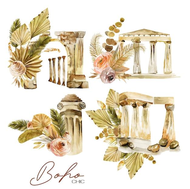Zestaw akwarelowych kompozycji antycznych elementów architektonicznych i kwiatowych bukietów boho