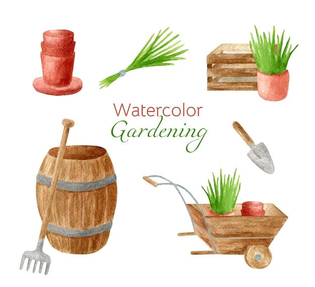 Zestaw akwarelowych narzędzi ogrodniczych z doniczkami, drewnianą taczką i beczką