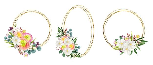 Zestaw akwarelowych złotych okrągłych ramek z kolorowymi kwiatami na białym tle