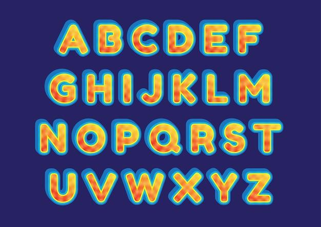 Zestaw alfabetów creative fire sun effect