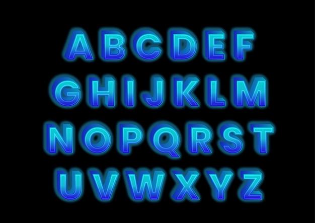 Zestaw alfabetów efektu bloku lodu