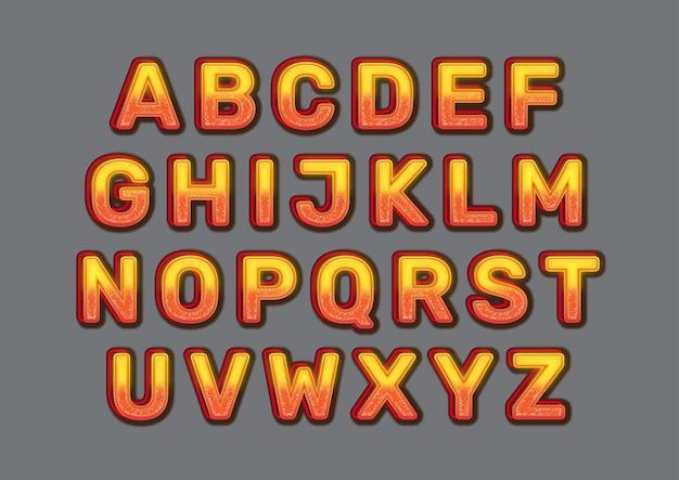 Zestaw alfabetów efektu ognia