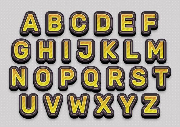 Zestaw alfabetów mody żółtej linii