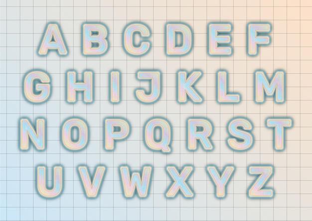Zestaw alfabetów pastelowych skumulowany