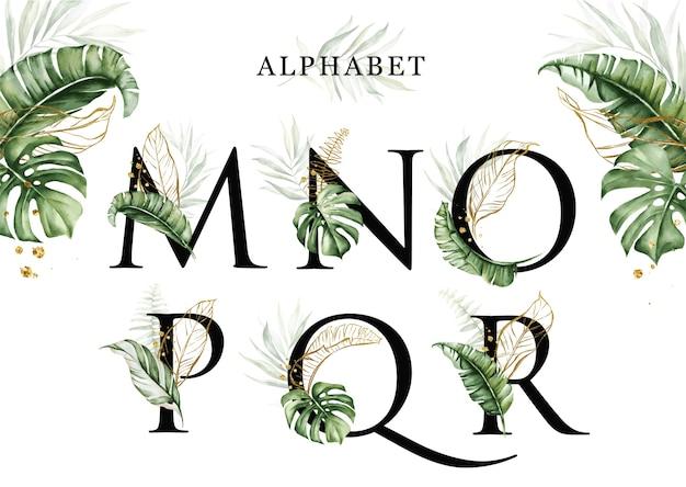 Zestaw alfabetu akwarela tropikalnych liści mnopqr ze złotymi liśćmi