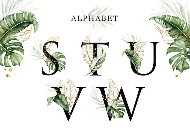 Zestaw alfabetu akwarela tropikalnych liści stuvw ze złotymi liśćmi