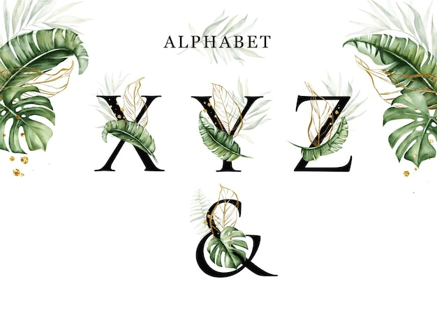 Zestaw alfabetu akwarela tropikalnych liści xyz ze złotymi liśćmi