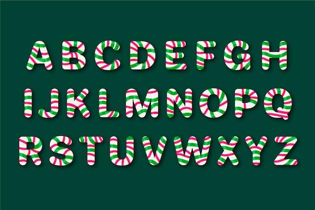 Zestaw alfabetu bożego narodzenia trzciny cukrowej